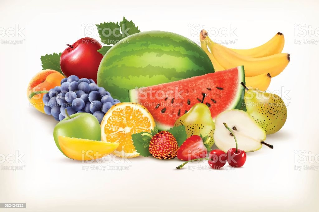 Big collection of different fresh fruit. Vector. royalty-free big collection of different fresh fruit vector stock vector art & more images of apple - fruit