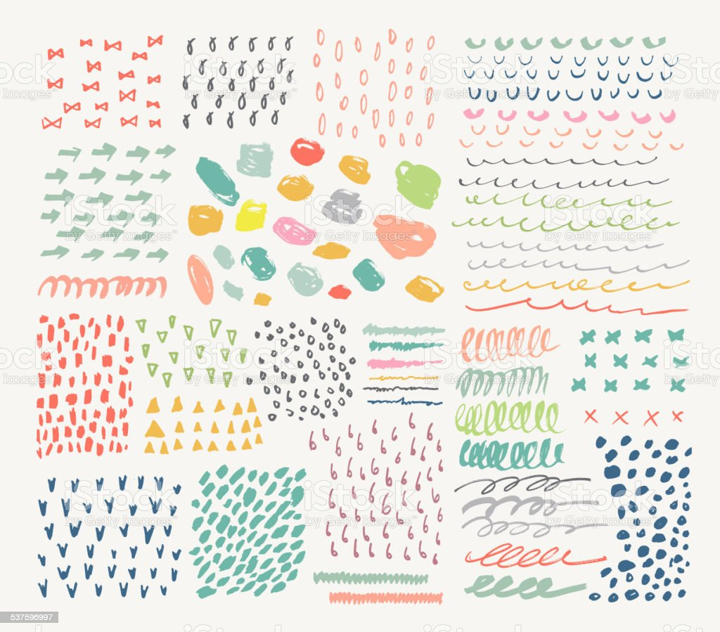 Big collection of different homemade textures made by marker. vector art illustration