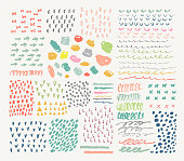Big collection of different homemade textures made by marker.