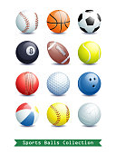 Big Collection of different Sports Balls for your creative works. Vector illustration.