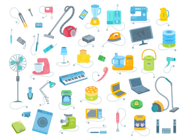 Big collection of electrical equipment icons. Vector illustration set isolated on white background. electrical equipment stock illustrations