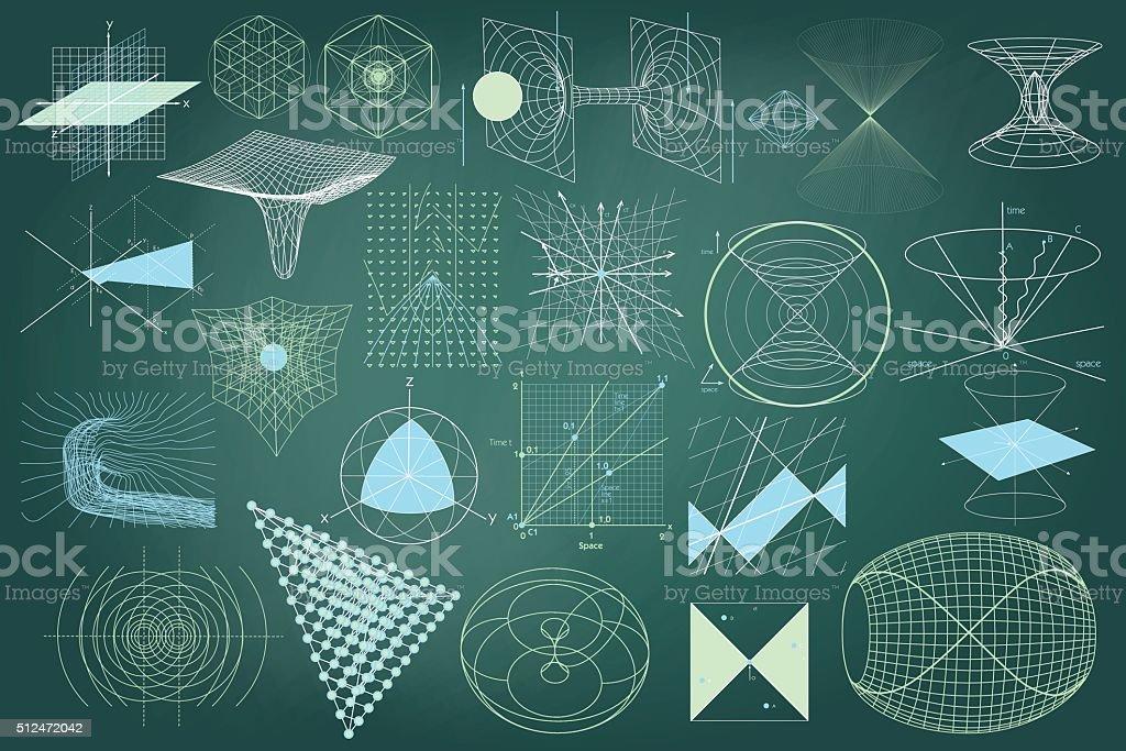 Grande coleção de Elementos e emblemas e regimes de física - ilustração de arte em vetor