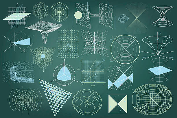 Big collection of elements, symbols and schemes of physics vector art illustration