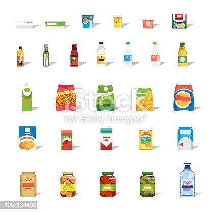 Big Set of Different Food, Drinks and Dairy Products Flat Vector Isolated on White Background. Groceries Collection in Bright Paper, Plastic and Glass Packaging. Food Shop or Supermarket Assortment