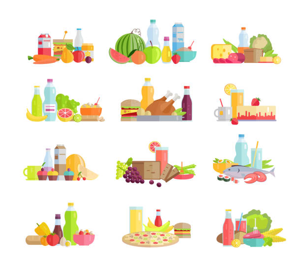 große sammlung von lebensmittelkonzepten in flachdesign. - pflaumenkuchen stock-grafiken, -clipart, -cartoons und -symbole