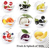 Big collection of fruit in a milk splash. Strawberry, blackberry, grandberry, plum, pear, peach, strawberry, coconut, honeydew. Vector Set 15.