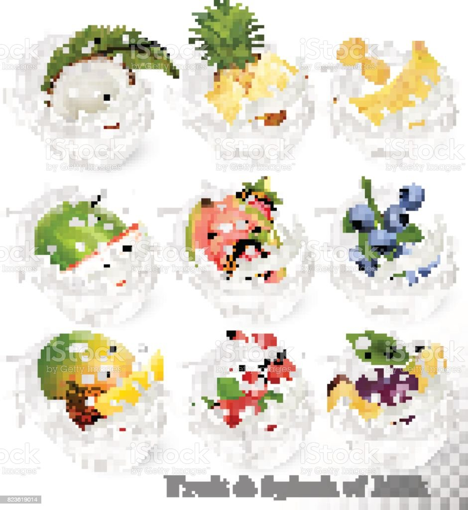 Big collection of fruit in a milk splash. vector art illustration