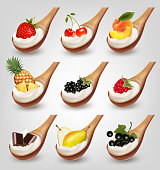 Big collection of fruits with yogurt in spoon. Strawberry, blackberry, peach, cherry, chocolate, pineapple, raspberry. Vector.