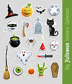 Big collection of Halloween Stickers. Cute cartoon characters and holiday elements. Vector illustration.