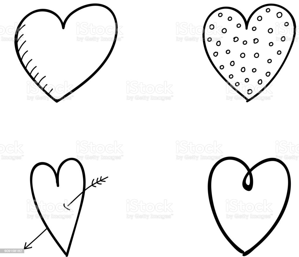 Big Collection Of Hand Drawn Hearts Cute Sketch Valentines Day