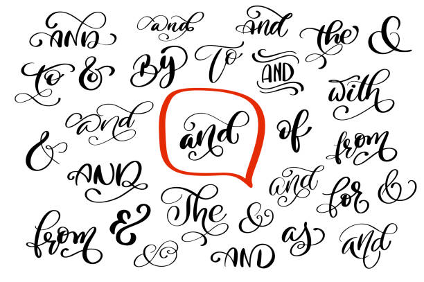 Big collection of hand lettered ampersands and catchwords isolated on white background. Great vector design set for wedding invitations, save the date cards and other stationary vector art illustration