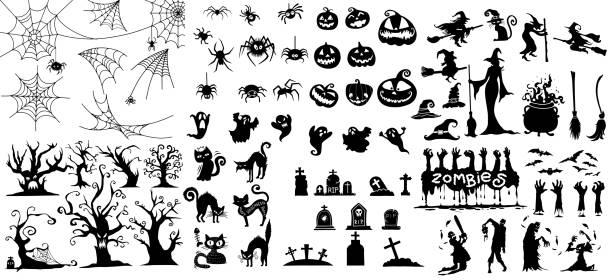 illustrazioni stock, clip art, cartoni animati e icone di tendenza di grande collezione di collezione happy halloween magic, illustrazione vettoriale disegnata a mano. - halloween