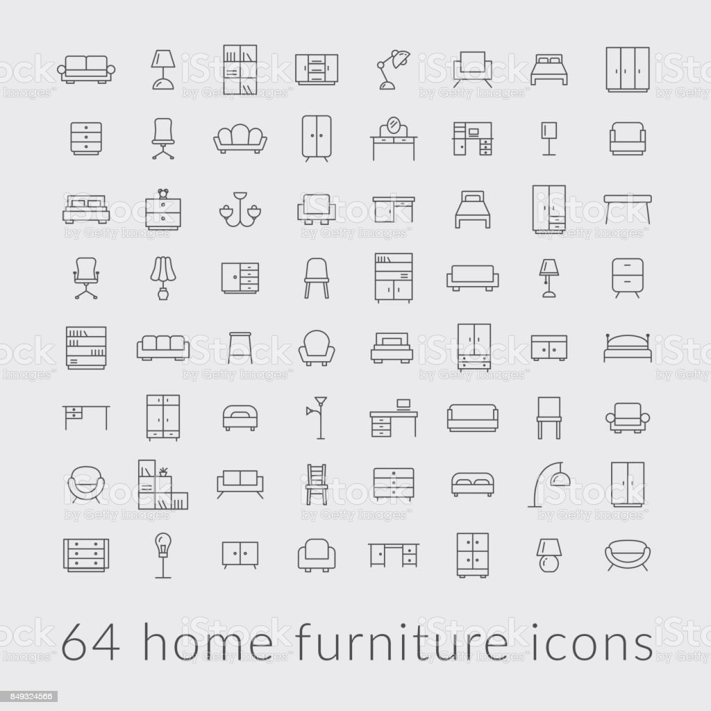 big collection of home furniture icons vector art illustration