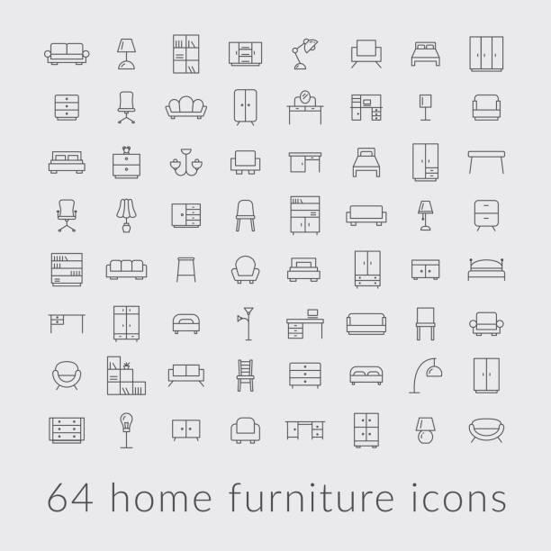 bildbanksillustrationer, clip art samt tecknat material och ikoner med stor samling av hem möbler ikoner - möbel