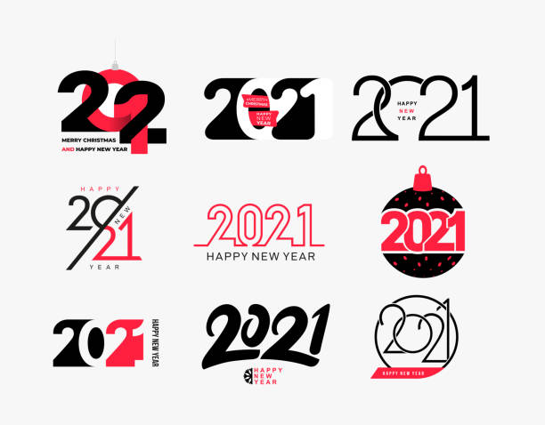 Big collection of logo 2021 Happy New Year signs. Set of 2021 Happy New Year symbols. Greeting card artwork, brochure template. Vector with black holiday labels isolated on white background. Big collection of logo 2021 Happy New Year signs. Set of 2021 Happy New Year symbols. Greeting card artwork, brochure template. Vector with black holiday labels isolated on white background. 2021 stock illustrations