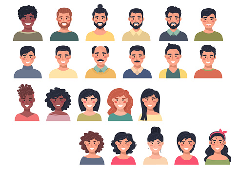Big collection of male and female avatars, portraits. Communication, web, chat, study, chat. Flat vector isolates.