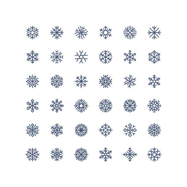 illustrazioni stock, clip art, cartoni animati e icone di tendenza di nuovo! grande collezione di icone fiocchi di neve contorno - fiocco di neve