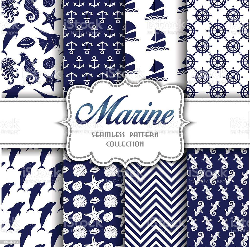 Big collection of seamless patterns with marine elements vector art illustration