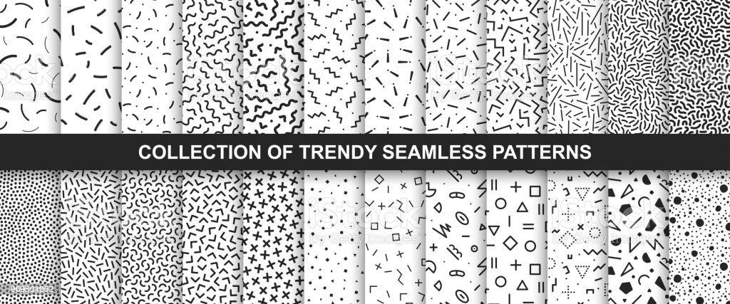 Stor samling av sömlösa vektor mönster. Modedesign 80-90-talet. Svart och vitt texturer. - Royaltyfri 1980-1989 vektorgrafik