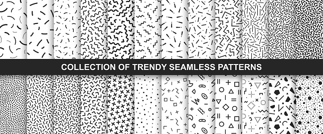 Big collection of   seamless vector patterns. Fashion design 80-90s. Black and white textures.