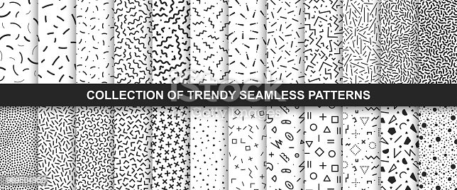 Big collection of   seamless vector patterns. Fashion design 80-90s. Black and white textures. You can find repeatable backgrounds in swatches panel.