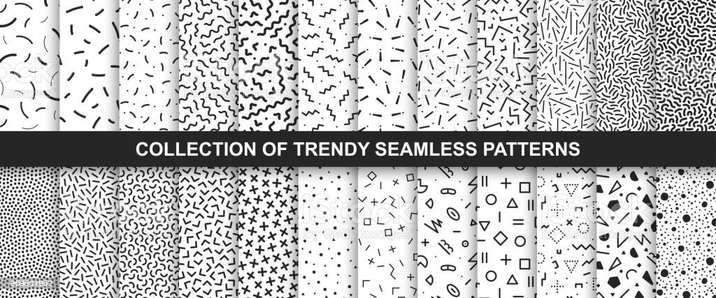 Big collection of   seamless vector patterns. Fashion design 80-90s. Black and white textures. vector art illustration