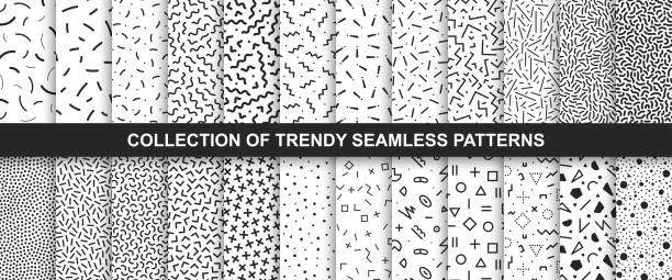 big collection of   seamless vector patterns. fashion design 80-90s. black and white textures. - бесшовный узор stock illustrations