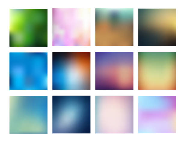 Big collection of smooth and blurry colorful gradient mesh background. vector art illustration