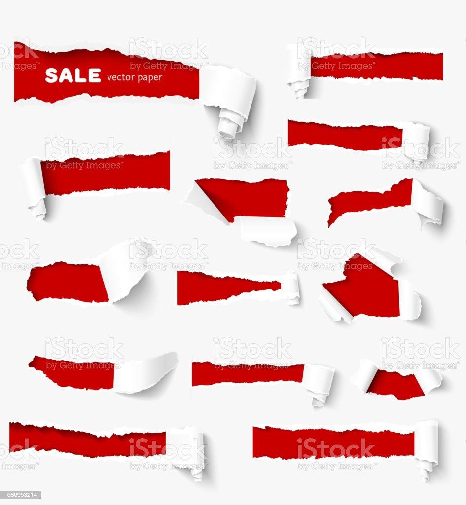 Grande collection de papier déchiré - clipart vectoriel de Abstrait libre de droits