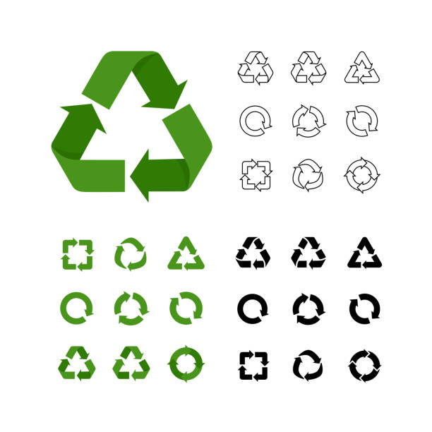 big collection of vector recycle reuse icons various style linear - recycling stock-grafiken, -clipart, -cartoons und -symbole