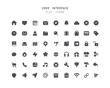 54 Big Collection Of Web User Interface Flat Icons