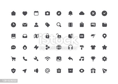 54 Big collection of web user interface flat vector icons.