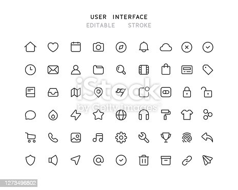 54 Big collection of web user interface line vector icons. Editable stroke.