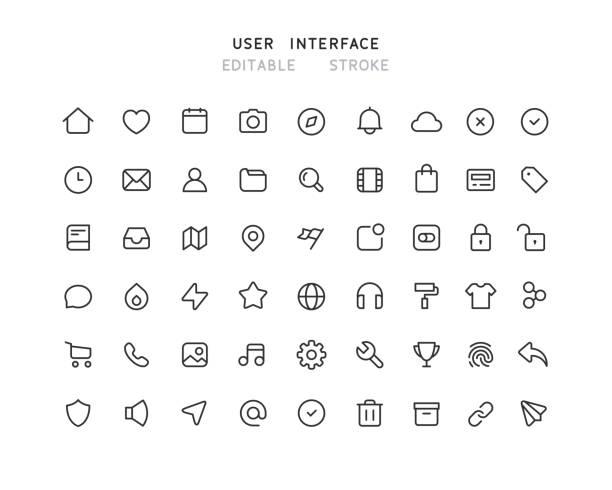 54 duża kolekcja ikon linii interfejsu użytkownika sieci web edytowalny obrys - grupa przedmiotów stock illustrations