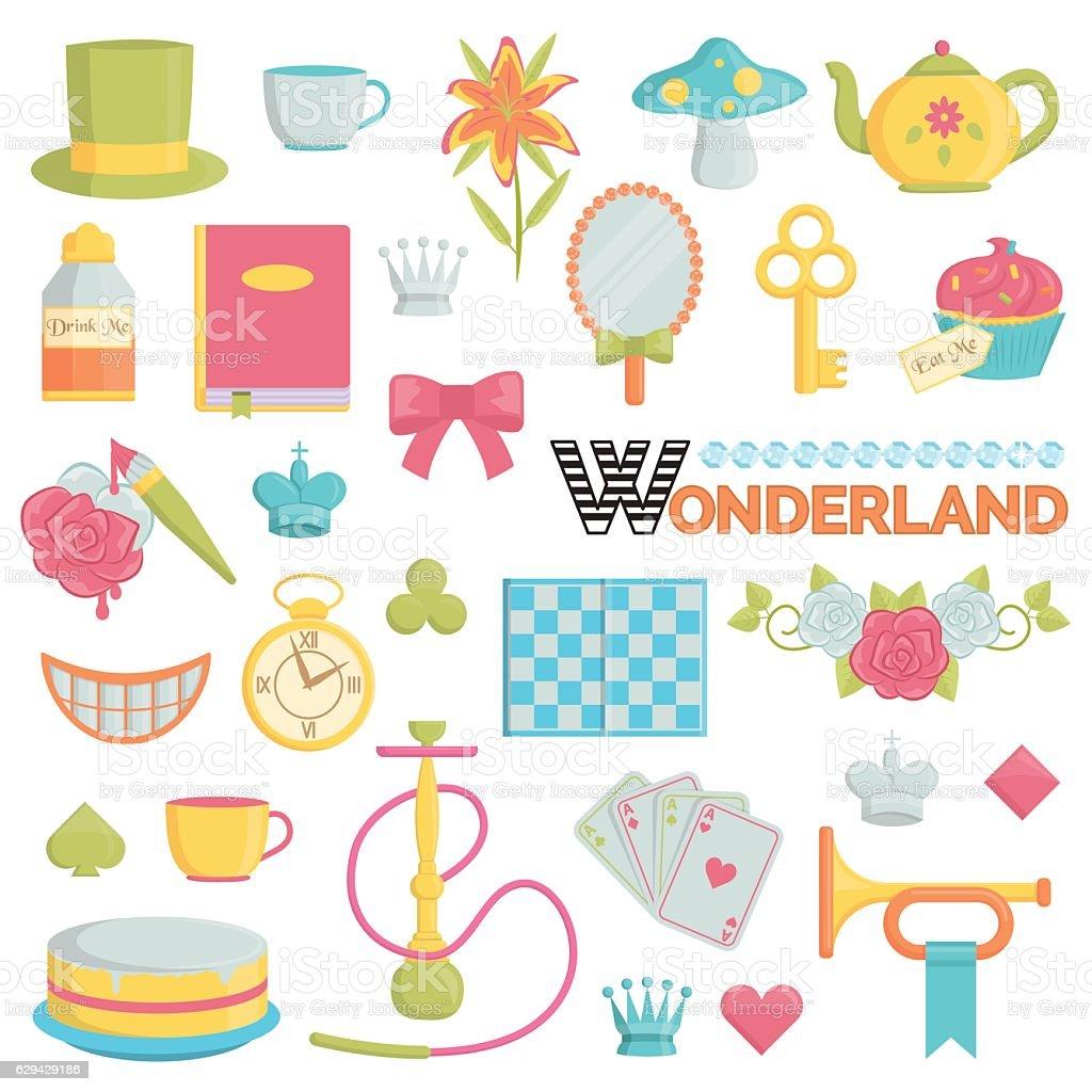 Big collection of wonderland icons - illustrazione arte vettoriale