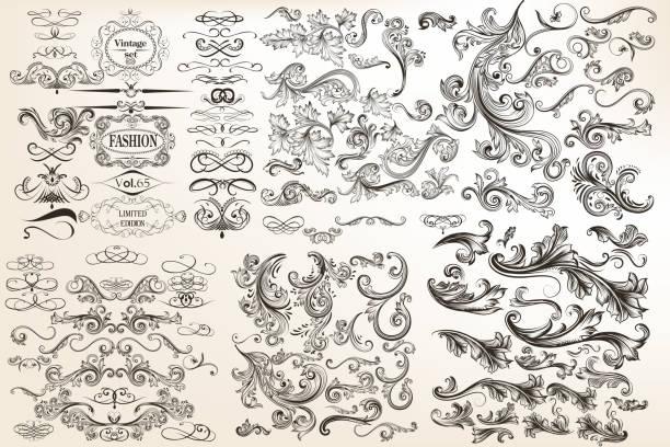 大型收藏或集向量復古的設計在古色古香的風格。大包 - 掐絲 幅插畫檔、美工圖案、卡通及圖標