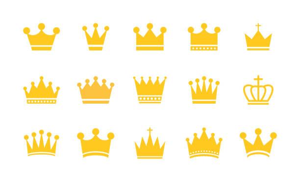 大集合原冠。金冠皇家皇冠圖示收集集。復古皇冠。向量插圖。 - 皇冠 頭飾 幅插畫檔、美工圖案、卡通及圖標