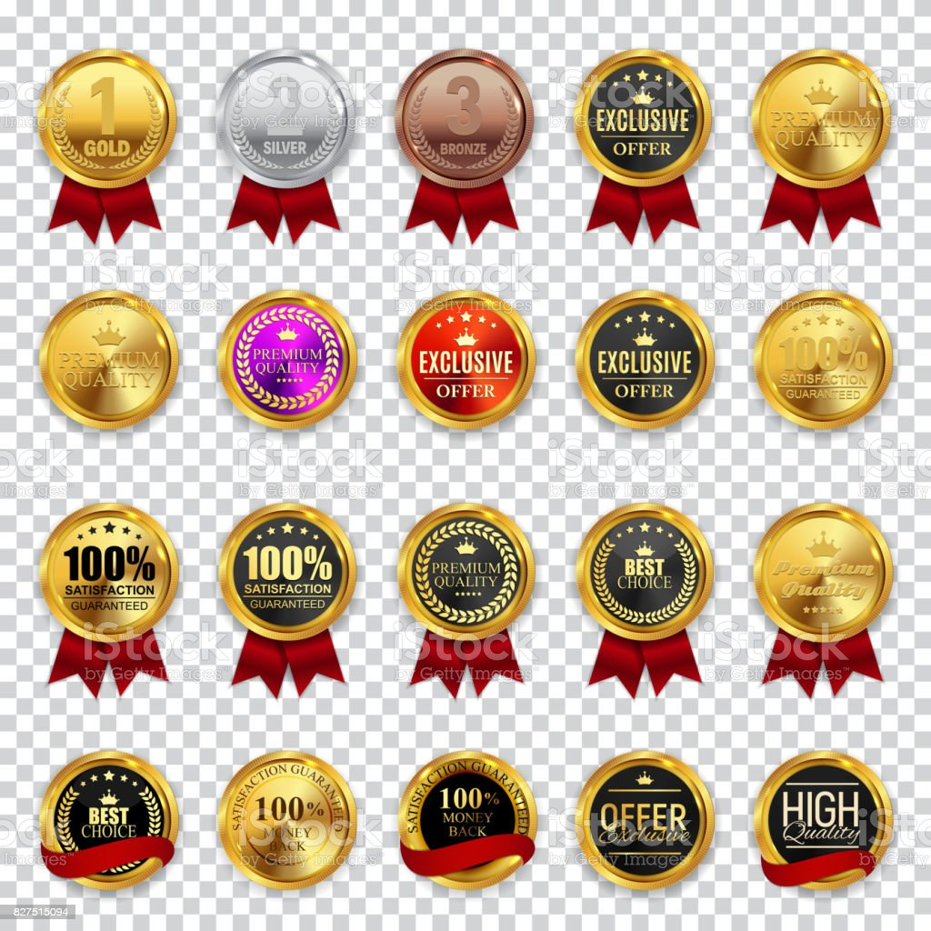 Big Collection Set of Champion, High Quality, Best Choice and Of vector art illustration