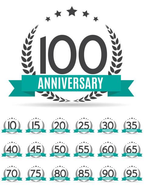 ilustrações, clipart, desenhos animados e ícones de grande coleção conjunto de modelo logotipo aniversário vector illustrat - data especial