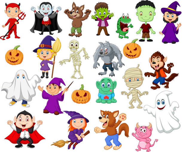 illustrations, cliparts, dessins animés et icônes de grandes collections de dessins animés halloween - monstres de bande dessinée