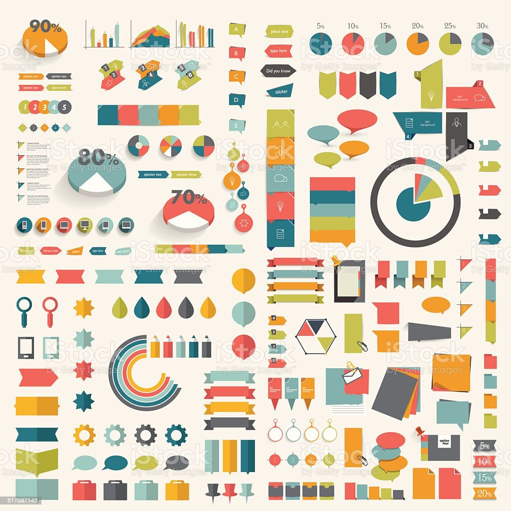 Big collections of info graphics flat design diagrams. vector art illustration