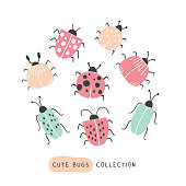 Big colorful hand drawn doodle set - butterflies