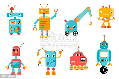 Big Colorful Robots Set Stock Vector Art & More Images of Art 964796600