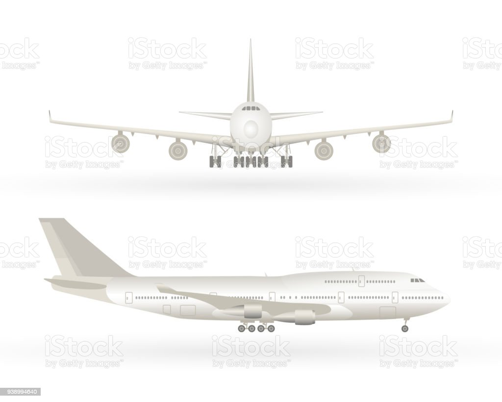 Big commercial jet airplane. Airplane in profile, from the front view. Aeroplane isolated. Aircraft vector illustration. Airline Concept Travel Passenger plane set vector art illustration