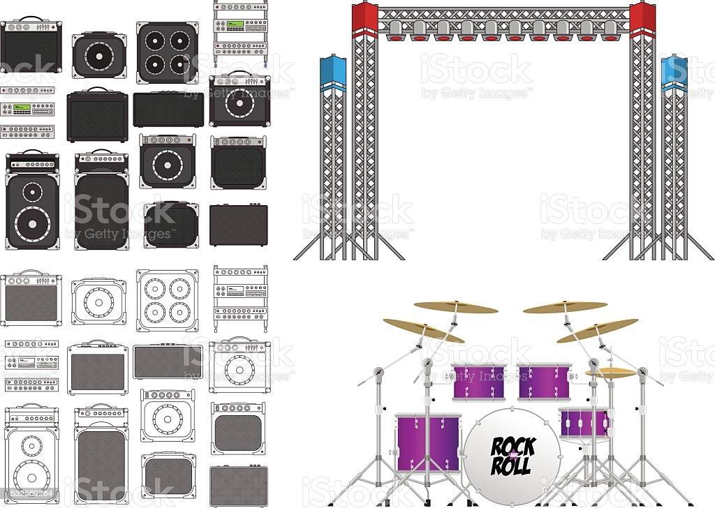Big Concert and Festival Stage Set vector art illustration