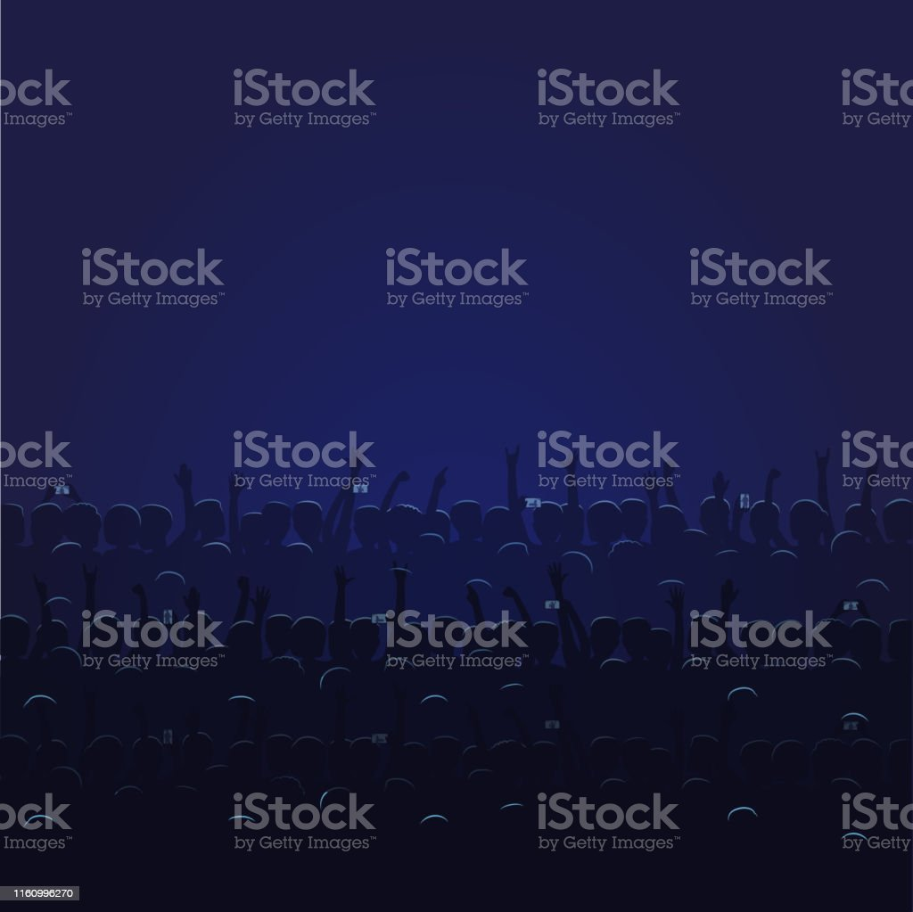Big Concert Hall with Blue Light Full of People - arte vettoriale royalty-free di Adulto