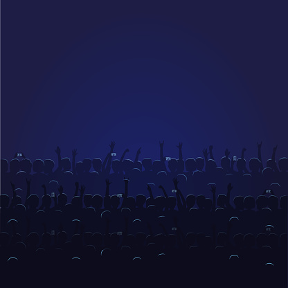 Big Concert Hall With Blue Light Full Of People - Immagini vettoriali stock e altre immagini di Adulto