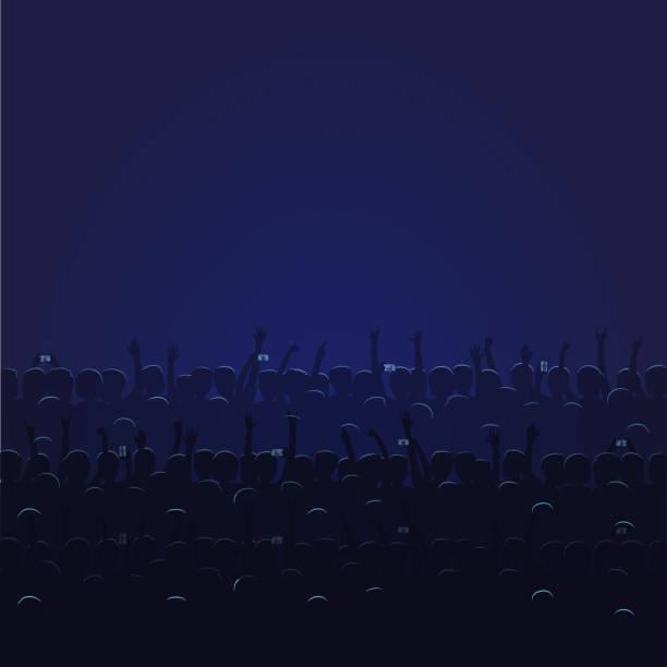 illustrazioni stock, clip art, cartoni animati e icone di tendenza di big concert hall with blue light full of people - theatre full of people stage