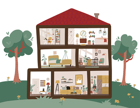 Big country House interior in cut. House plan cross-sectional view room - bath, kitchen, nursery, living room, hallway, cabinet and bedroom. Green trees outside. Vector flat hand drawn illustration
