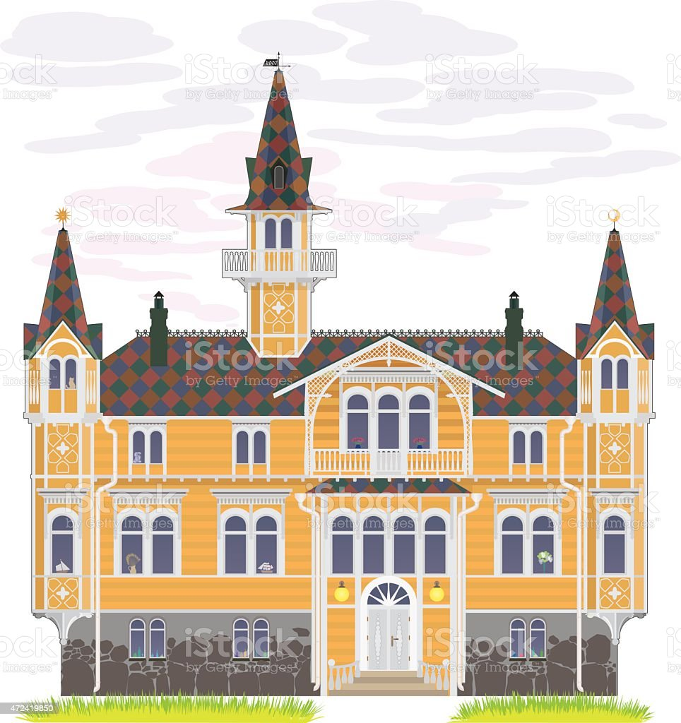 Big country house vector art illustration